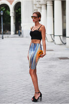 blue pencil skirt H&M skirt - orange Zara bag - black Zara sandals