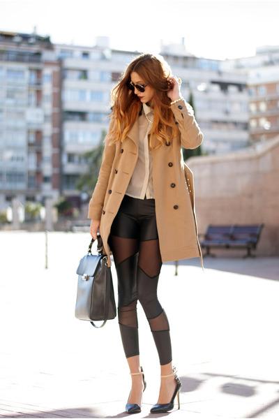 black asos leggings - camel Comptoir des Cotonniers coat