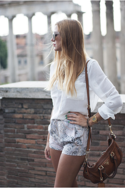 camel Zara shorts - white Bershka shirt - dark brown Prada bag