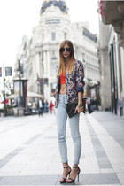orange asos top - light blue Zara jeans - navy suiteblanco jacket