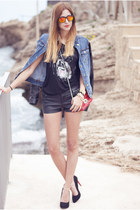 black 2dayslook t-shirt - blue Stradivarius jacket - ruby red NYC bag