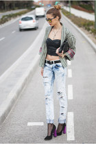 black Zara jacket - blue denim pull&bear jeans - black Marc by Marc Jacobs bag
