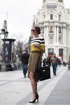 olive green Mango skirt - black Zara bag - olive green Mango jumper