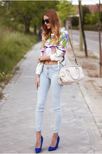 white Choies top - light blue Zara jeans - cream Zara bag - blue Zara wedges