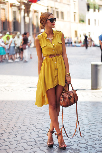 tawny Mango shoes - mustard Sheinshide dress - tawny Prada bag