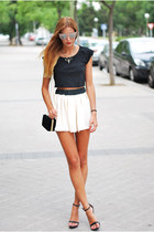 black Zara bag - eggshell made by me skirt - black Zara sandals
