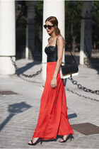 black Zara bag - black suiteblanco top - black Zara sandals - red Zara pants