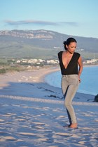 silver Stradivarius jeans - black Accessorize bodysuit