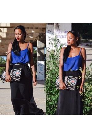 black bag - black Stradivarius skirt - black Stradivarius belt - blue top