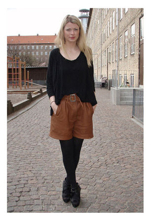 brown Zara shorts - black acne top - black acne cardigan - black Carin Wester sh