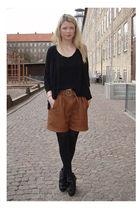 brown Zara shorts - black acne top - black acne cardigan - black Carin Wester sh