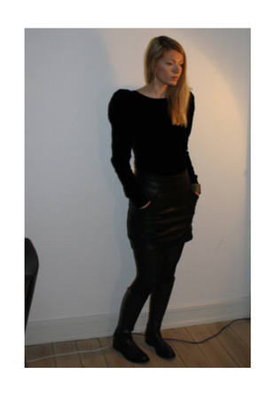 H&M dress - acne skirt - Alberto Fasciani boots
