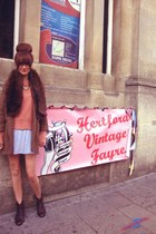 brown leather vintage boots - camel box blazer Topshop blazer