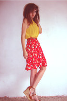 yellow silk-sleevless new look blouse - brown skinny belt vintage belt - red red