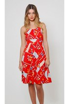 Vintage Red Graphic Sun Dress
