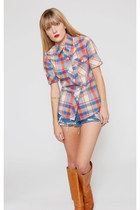 Vintage Plaid Button Down Americana Indie shirt