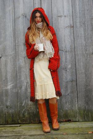 lace slip dress vintage dress - Frye boots - vintage sweater - vintage scarf