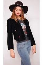 Vintage Black Velvet Crop Jacket