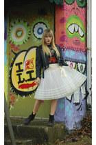 white tutu skirt - jacket - rocker tee t-shirt