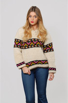 Vintage 70s WOOL Crop Sweater ETHNIC Pull Over Hippie Sweater Bright Graphic Swe