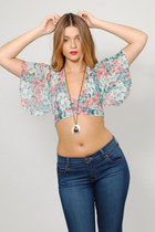 Vintage 70s Floral Cropped Criss Cross Halter Top
