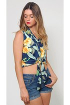 Vintage Tropical Floral Crop Top