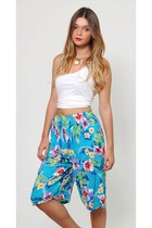Vintage Turquoise Floral Shorts