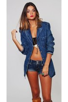 Vintage Fitted Denim Blazer Jacket