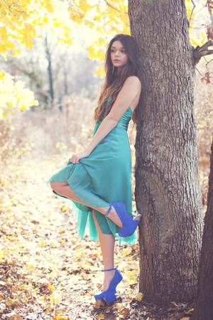 teal Lotus Vintage dress - blue Jeffrey Campbell heels