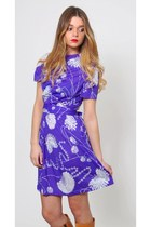 Vintage Purple Floral Dress