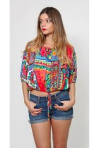 Vintage Bright Abstract Crop Top