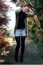 Zara shorts - Zara jacket - my mums boots