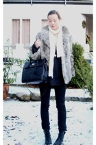 Thrift Store coat - littlebig jeans - made in france purse - my mums boots
