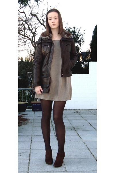 Geox jacket - my mums purse - my mums dress - Zara shoes