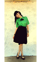 black handmade skirt - olive green vintage top