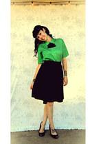 black handmade skirt - olive green vintage top
