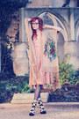 Peach-chloe-dress-black-wolford-tights-cream-kimono-shawl-etsy-cape