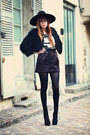 Black-booties-kg-boots-black-zara-hat-black-fuzzy-topshop-cape
