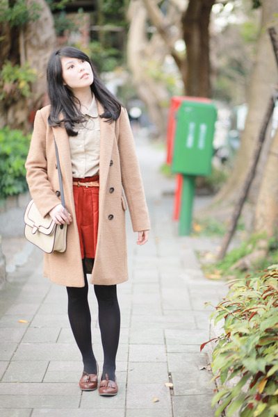 tan coat - ruby red shirt - beige Mango bag - crimson loafers