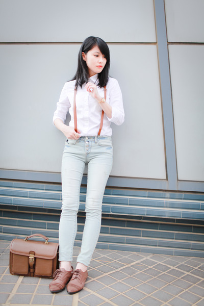 white asos blouse - light blue Blupop jeans - brown bag - light brown loafers