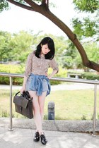 black shoes - dark brown Zara bag - light blue denim shorts