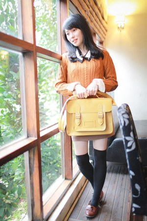 burnt orange sweater - light yellow bag - tawny skirt - brown loafers