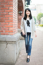 sky blue blouse - navy Zara bag - silver cardigan - black loafers