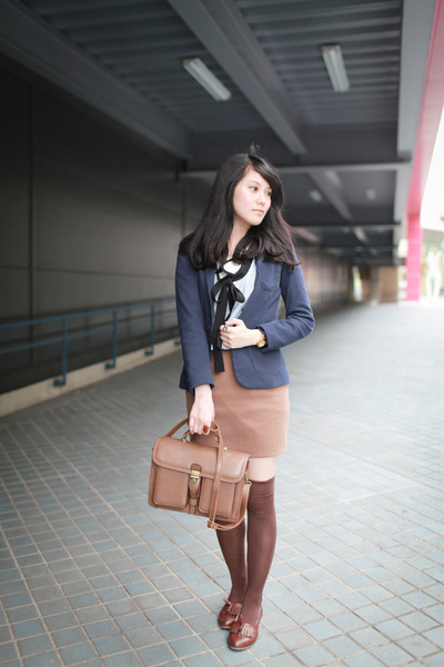 brown loafers - navy Zara blazer - light brown skirt