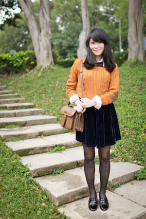 orange sweater - brown thrifted bag - navy velvet skirt