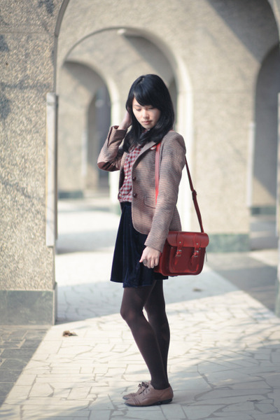 light brown shoes - crimson Zara Kids blazer - maroon H&M shirt
