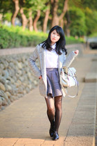 white nice claup blouse - black Mihara skirt - silver Zara necklace