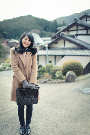 tan coat - black H&M bag - light pink Zara Kids top