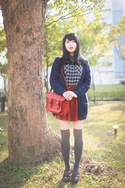 navy Muji shirt - ruby red cambridge satchel bag - gray socks - navy cardigan