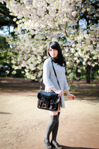 black H&M bag - sky blue tweed dress - heather gray stockings - black loafers